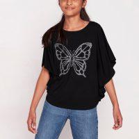 Poncho-overdel med sommerfugl i rhinesteiner