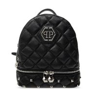 Quilted backpack with logo