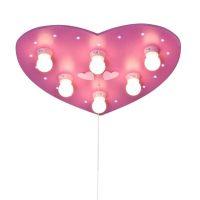 Rosa taklampe HERZ med LED-slumrelys