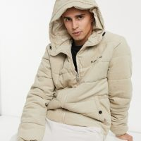 Sixth June corduroy puffer jacket in beige