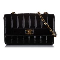 Small Mademoiselle Ligne Patent Leather Flap Bag