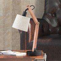 Stilig bordlampe Janko i tre brun
