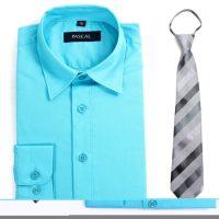 Turkis/grå Pascal skjorte med slips