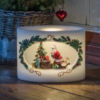 Vokslys LED julenisse og barn