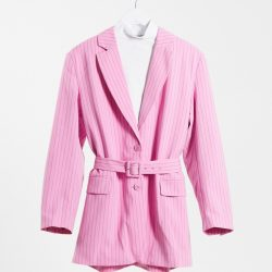 Weekday Jean co-ord recycled pinstripe belted blazer in pink