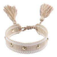 Woven Friendship Bracelet With Star Studs