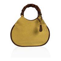 Yellow Canvas Small Bamboo Tote Bag Handbag