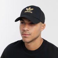adidas Originals cap with gold trefoil logo in black