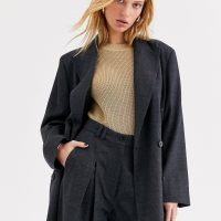 & Other Stories Capsule double breasted wool blazer in dark grey