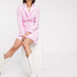 & Other Stories belted blazer dress in powder pink