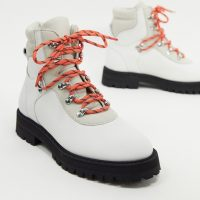 & Other Stories contrast sole lace up hiking boots in white