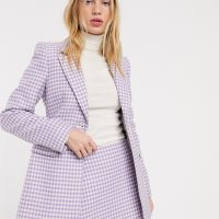 & Other Stories gingham check sculpted blazer in lilac-Purple
