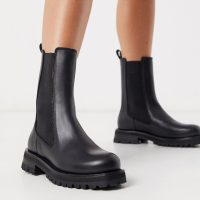 & Other Stories leather chunky sole pull-on boots in black