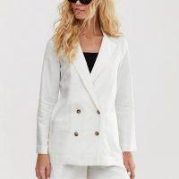 & Other Stories linen blazer in white