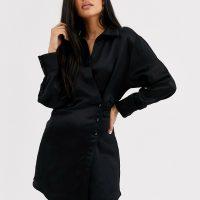 & Other Stories side button blazer dress in black
