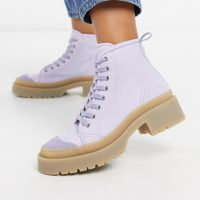 & Other Stories vegan canvas lace-up biker boots in lilac-Purple