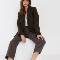 & Other Stories wool blend oversized blazer in brown