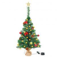 vidaXL Kunstig juletre dekorert med julekuler og LED 64 cm grønn