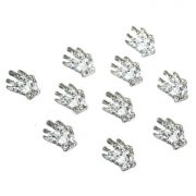 10 Pcs 3D Silver Metal Hand Skeleton Nail Art Decoration Alloy Halloween Girls