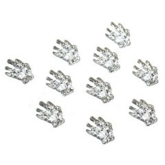10 Pcs 3D Silver Metal Hand Skeleton Nail Art Decoration Alloy Halloween Girls