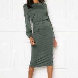 BUBBLEROOM Besa rib dress Dark green XL