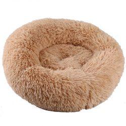 Beige rund luksus hunde- og katteseng, 2 str