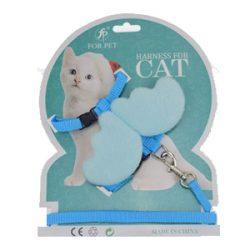 Blå kattesele med vinger og lenke
