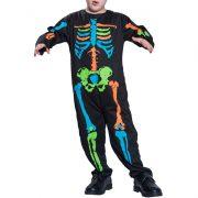 Colorful Skeleton Print Halloween Boys Jumpsuit For 3Y-10Y
