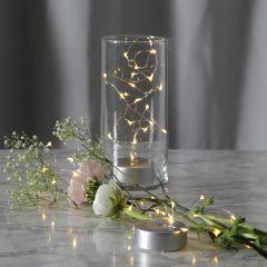 Dew Drops LED-lyslenke med batteri, 100 cm