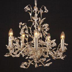 Eksklusiv Buono lysekrone i sølv og med fem lys