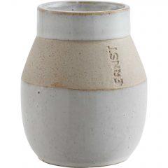 Ernst Vase glassert m matt bård H10cm.