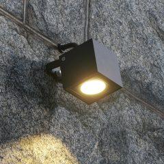 Firkantet LED-utespot Mariana, grafittgrå