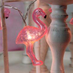 Flott partylyslenke Flamingo med LED-lys, 10 lys