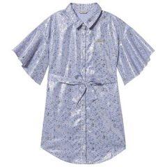 Guess Stripe Metallic Trykk Skjorte Kjole Blå/Hvit 8 years