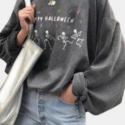 Halloween Skeleton Print O-neck Casual Plus Size Sweatshirt