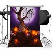 Halloween Skeleton Tree Cemetery Photography Pumpkin Background Cloth