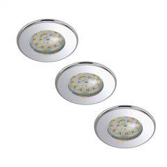 LED-downlight Nikas IP44, krom, 3er sett
