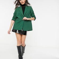 Mango boxy blazer in green