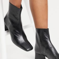 Mango leather mid heel boots in black