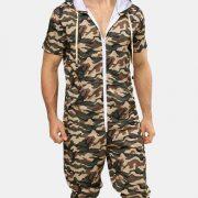 Men Camo Hoody Onesies Short Sleeve Hooded Zip Down Jumpsuit Loungewear With Pockets