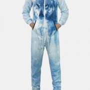 Men Wolf Print Blue Loungwear Jumpsuit Zip Down Thin Breathable Pajamas With Pockets