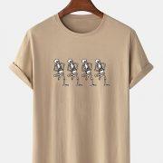 Mens 100% Cotton Halloween Skeleton Print O-Neck Short Sleeve T-Shirts