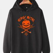 Mens Halloween Pumpkin Skeleton Hand Printed Cotton Funny Drawstring Hoodies
