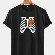 Mens Halloween Skeleton Funny Pumpkin Printed Cotton Casual Short Sleeve T-Shirts
