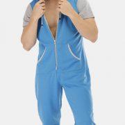 Mens Light Blue Patchwork Jumpsuits Short Sleeve Hooded Pajamas