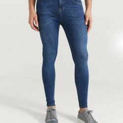 Nimes Jeans Non Ripped Spray on Jeans Blå