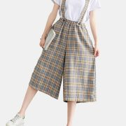 Plaid Print Wide Led Rompers For Women