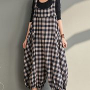 Plaid Sleeveless Loose Jumpsuit For Women