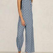 Polka Dot Print Straps Plus Size Casual Jumpsuit