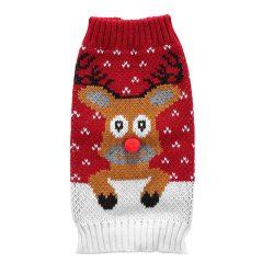 Rød/Hvit julegener til hund med reinsdyr
